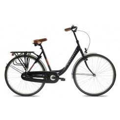 "HIGHLANDER 28"" CITY BIKE LADY 6 SP, BLACK, 57CM STEEL"