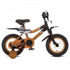 Jongensfiets Troy Motorcross 12 inch Zwart-Oranje