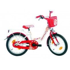 Meisjesfiets Bike Fun Poppy 18 inch Wit-Rood